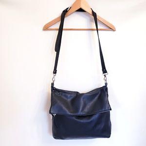 Pulicati Black Leather Pebbled Foldover Bag Purse